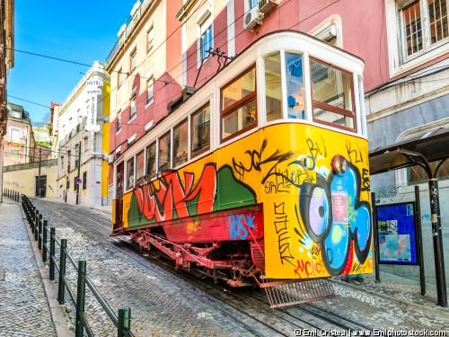 Lisbon, Portugal - March 22, 2012: Gloria Funicular In The City Center Of Lisbon, National Monument In Portugal And A Popular Tourist Attraction Of Europe.