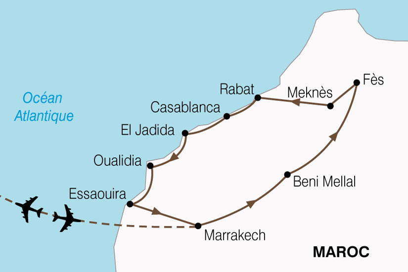 (Map) carte Maroc Villes Imperiales Cote Atlantique