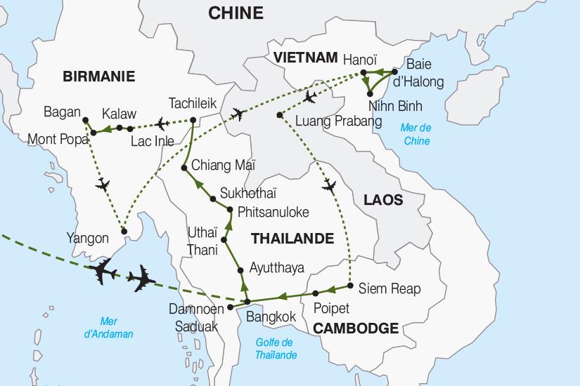 Carte Frontiere Thailande Laos.Carol S Voyages Circuit Le Grand Tour D Asie